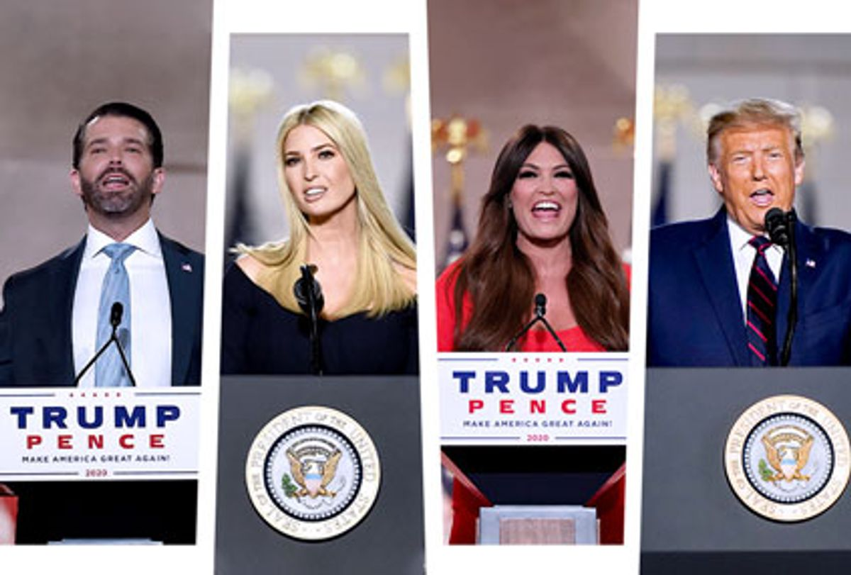 Donald Trump Jr., Ivanka Trump, Kimberly Guilfoyle and Donald Trump speaking at the 2020 RNC (Photo illustration by Salon/Getty Images)