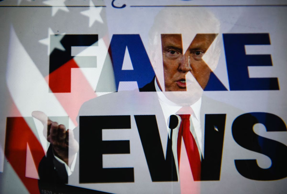 """In this photo illustration a double exposure image shows the President of United States of America, Donald Trump with a sentence saying """"Fake news"""".  (Omar Marques/SOPA Images/LightRocket via Getty Images)"""