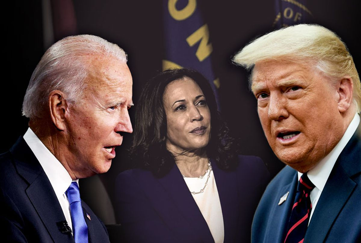 Joe Biden, Donald Trump and Kamala Harris (Photo illustration by Salon/Getty Images)