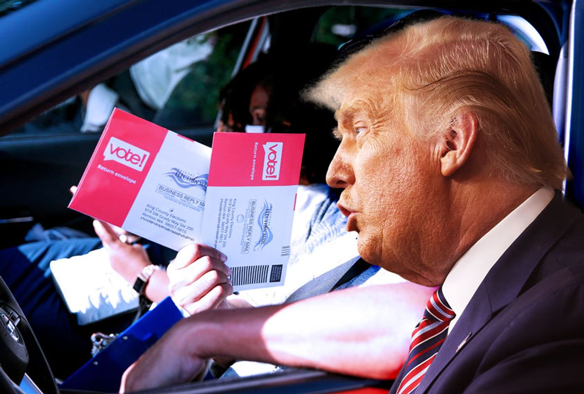 Seattle man prepares to drop off ballots for the August 4 Washington state primary at King County Elections in Renton, Washington on August 3, 2020 | Donald Trump (Photo illustration by Salon/Win McNamee/Jason Redmond/AFP/Getty Images)