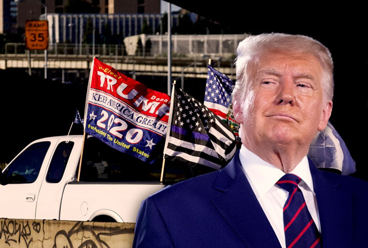 Donald Trump | Pickup trucks and cars full of flag-waving Donald Trump supporters as they snarl traffic and parade through downtown Portland, Oregon on August 29, 2020. (Photo illustration by Salon/Getty Images)