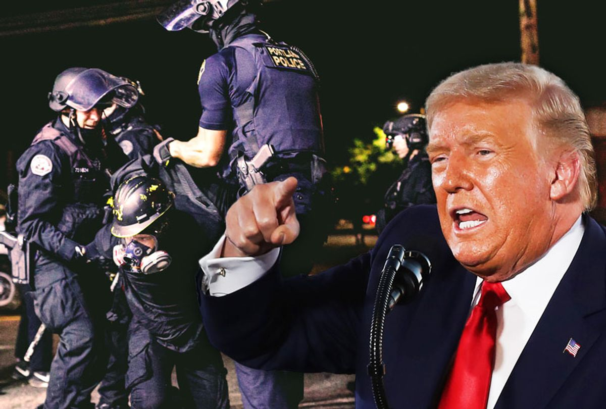 Donald Trump | About two hundred persons protesting police brutality spray graffiti and start fires at the Portland Police Union building, in Portland, Oregon, United States on August 28, 2020, the 93rd day of consecutive protests. Police declared a riot and arrested many people. (Photo illustration by Salon/Getty Images)