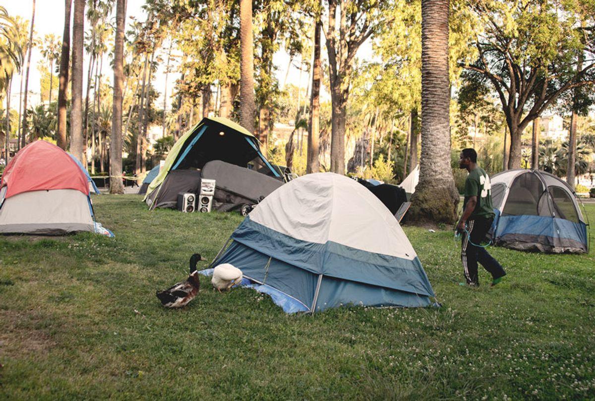 A homeless encampment at Echo Park Lake during the coronavirus COVID-19 pandemic ( Araya Diaz/Getty Images)