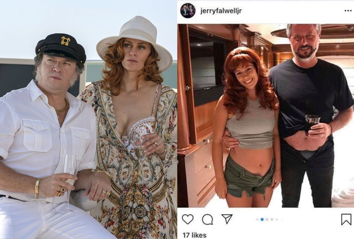 """Danny McBride and Cassidy Freeman in """"The Righteous Gemstones""""   Photo of Jerry Falwell Jr. from his Instagram (Photo illustration by Salon/HBO/Instagram)"""