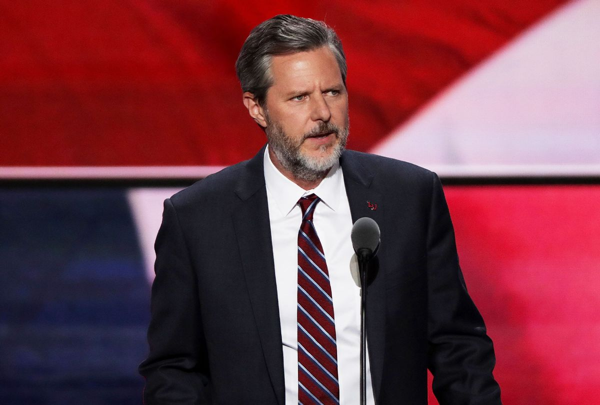 President of Liberty University, Jerry Falwell Jr., delivers a speech during the evening session on the fourth day of the Republican National Convention on July 21, 2016 (Alex Wong/Getty Images)