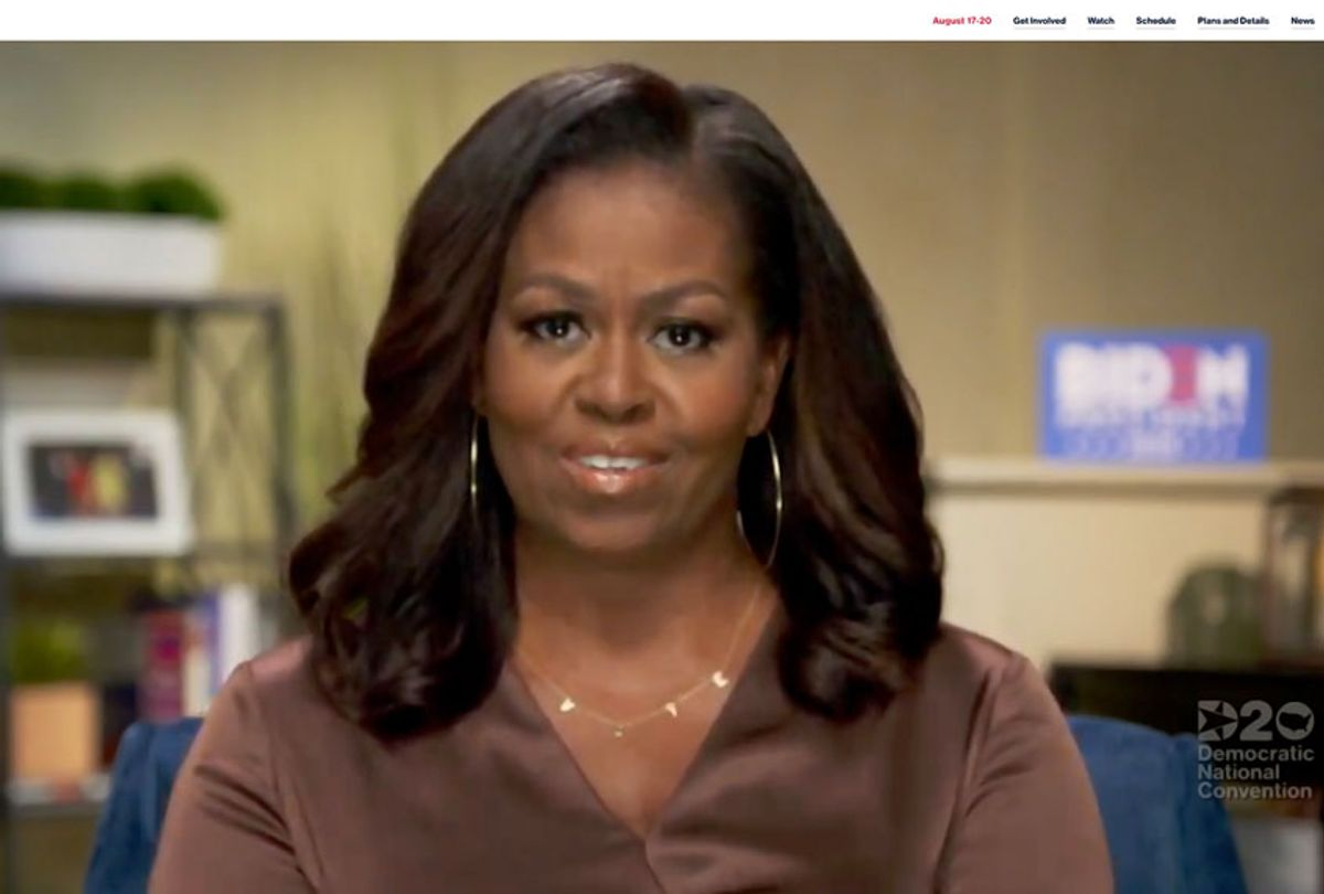 In this screenshot from the DNCC's livestream of the 2020 Democratic National Convention, Former First Lady Michelle Obama addresses the virtual convention on August 17, 2020. The convention, which was once expected to draw 50,000 people to Milwaukee, Wisconsin, is now taking place virtually due to the coronavirus pandemic. (Handout/DNCC via Getty Images)