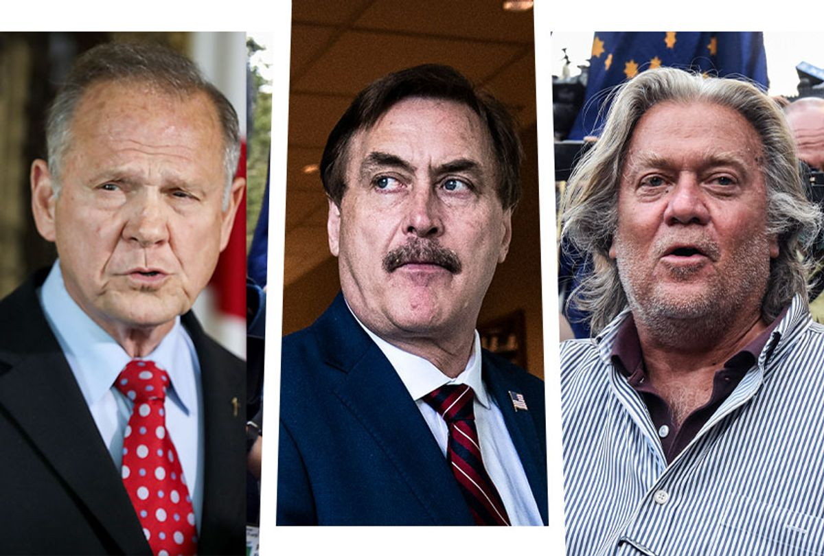 Roy Moore, Mike Lindell and Steve Bannon (Photo illustration by Salon/Getty Images)