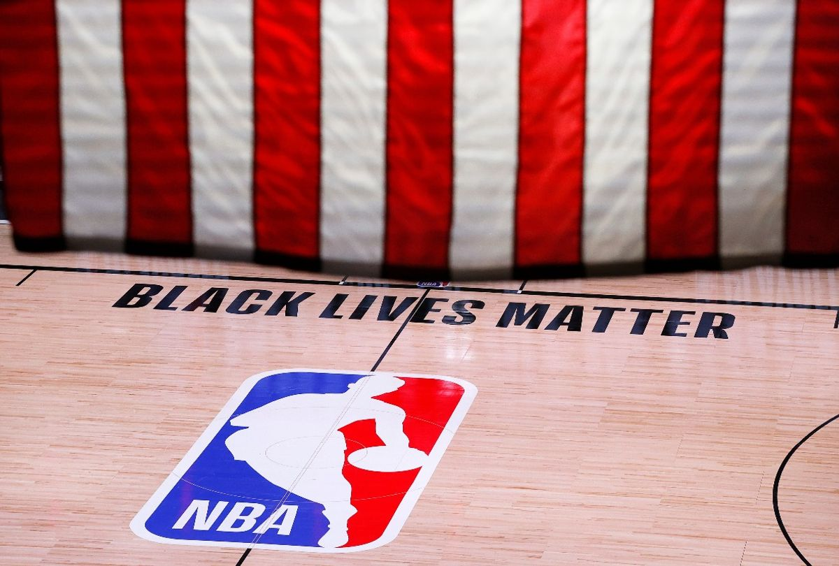 An empty court during the 2020 NBA Playoffs (Kevin C. Cox/Getty Images)