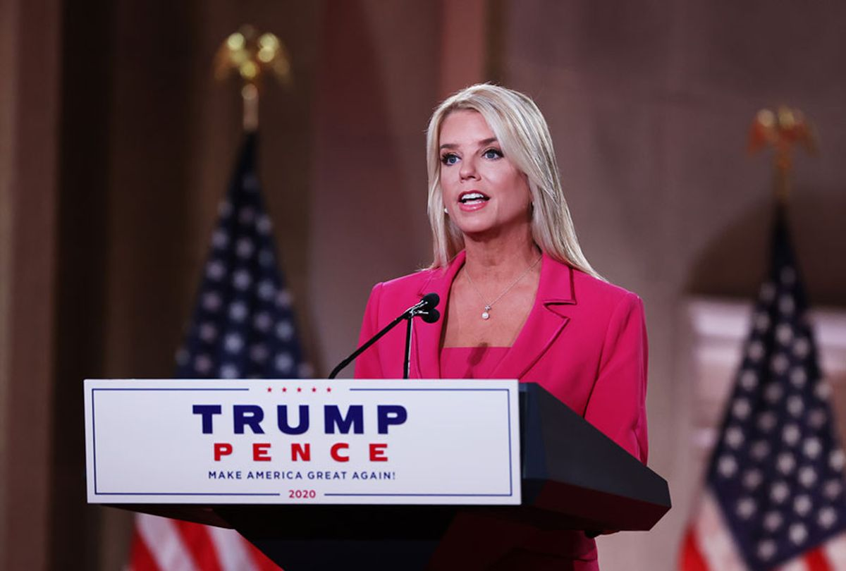 Former Florida Attorney General Pam Bondi stands on stage in an empty Mellon Auditorium while addressing the Republican National Convention on August 25, 2020 in Washington, DC.  (Chip Somodevilla/Getty Images)