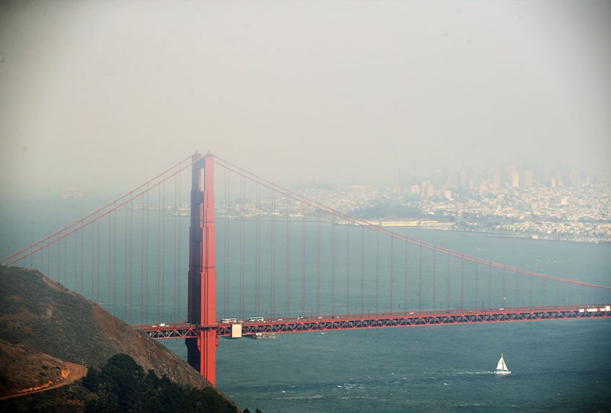 Heavy smoke from nearby wild fires covers the Golden Gate Bridge and San Francisco on August 20, 2020 as seen from the Marin Headlands in Sausalito, California. (Ezra Shaw/Getty Images)