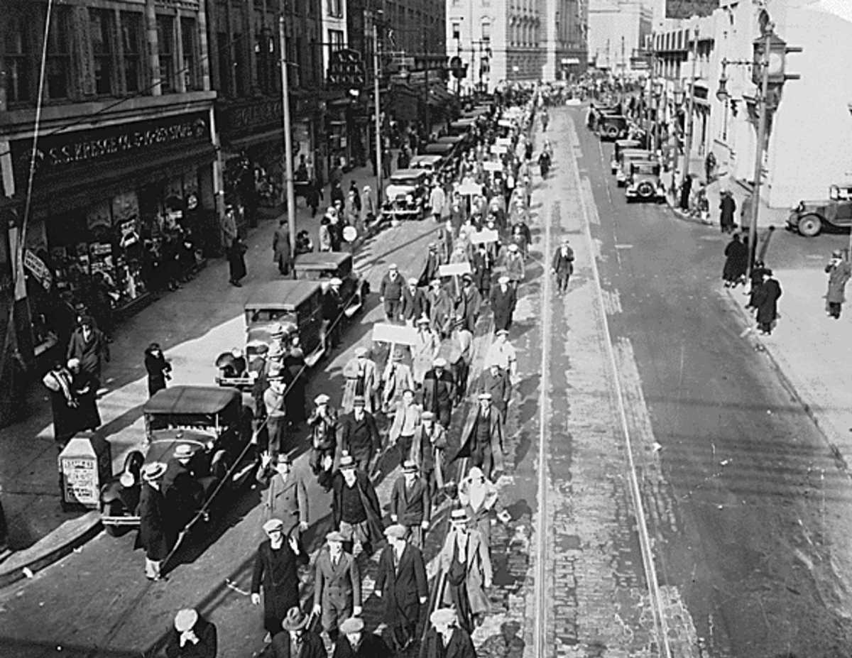 Unemployed workers march in Trenton, New Jersey, 1936.