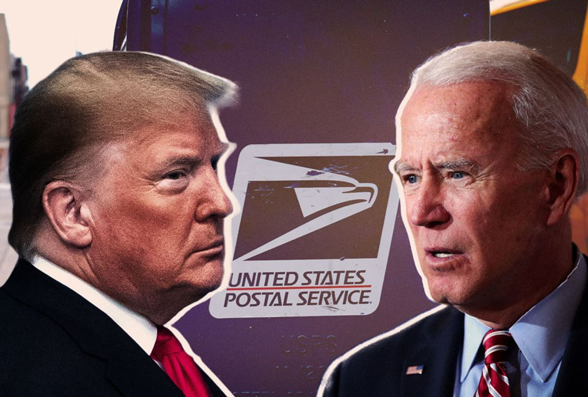 Donald Trump, Joe Biden, and the USPS (Photo illustration by Salon/Getty Images)