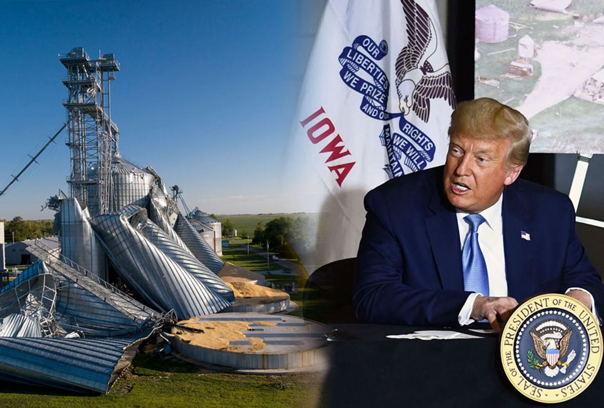 US President Donald Trump participates in an Iowa Disaster Recovery Briefing on August 18, 2020 at the Eastern Iowa Airport in Cedar Rapids, Iowa. (Photo illustration by Salon/Getty Images)