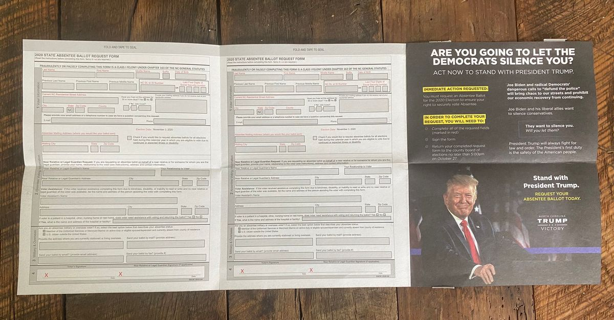 A GOP brochure encouraging North Carolina Republicans to request mail-in ballots features President Donald Trump's face. (Chandler Carranza)