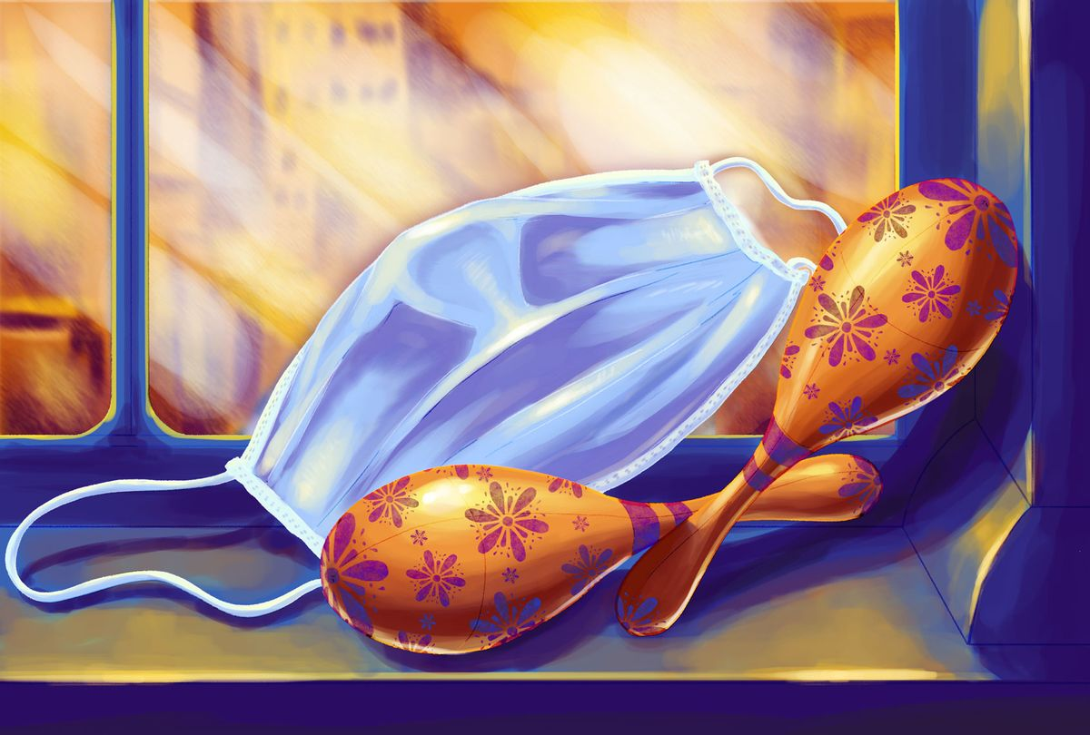 A pair of maracas and a medical face mask, placed on a window sill (Illustration by Ilana Lidagoster/Salon)
