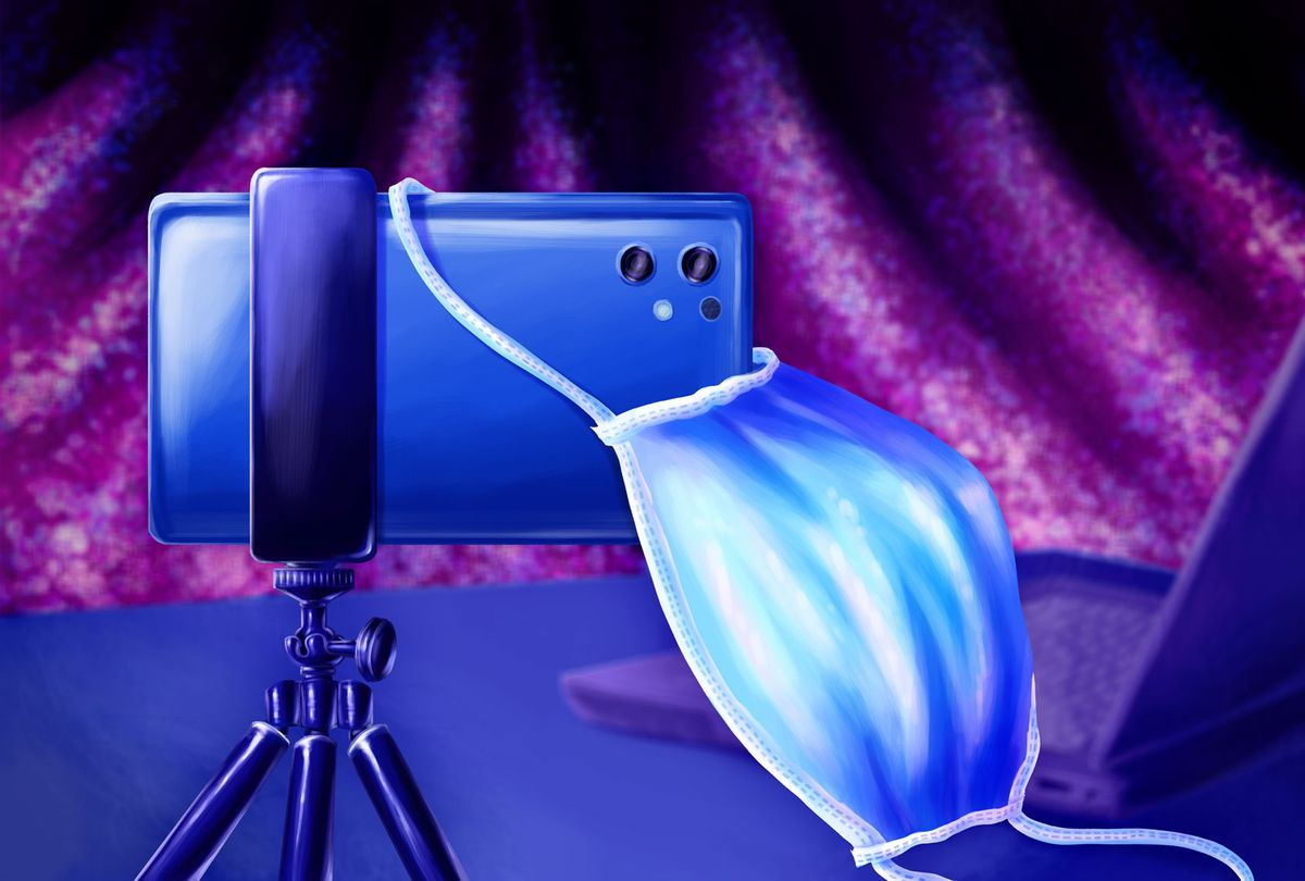 A smart phone with a camera mounted on a tripod, with a medical face mask hanging off of it. (Illustration by Ilana Lidagoster)