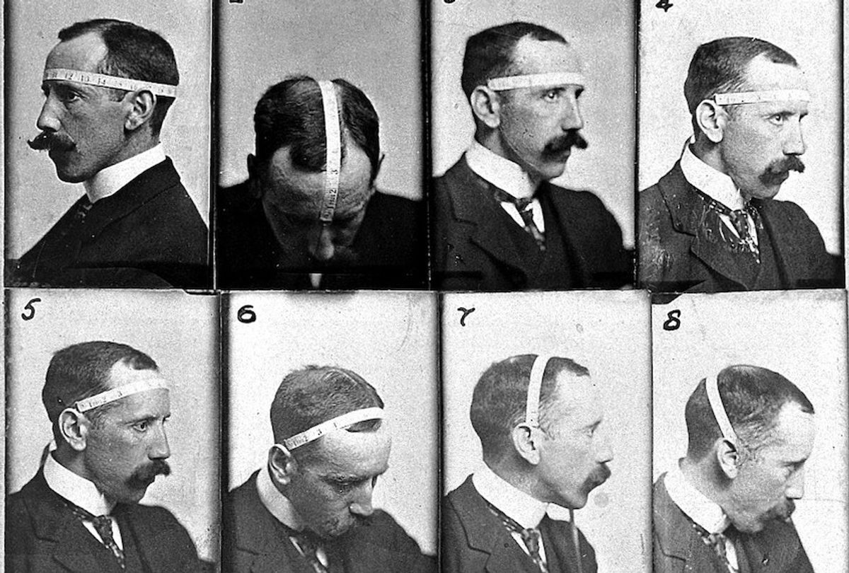 """The Austrian-born Bernard Hollander favored a quantitative approach to phrenological diagnosis, and is shown here methodically measuring his own skull. His meticulous view of the critical role of cranial measurement mirrored Galton's in its obsessive assessment of statistical averages. Image: Wellcome Collection. Bernard Hollander: Cranial Measurement (1902) (<a href=""""https://wellcomecollection.org/works/sqjvypsb"""">Wellcome Collection</a>. Bernard Hollander: Cranial Measurement (1902))"""