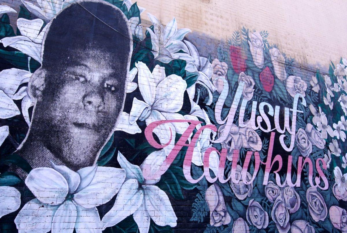 """Yusuf Hawkins: Storm Over Brooklyn"" Mural dedicated to Yusuf Hawkins in Bedford-Stuyvesant, Brooklyn  (Courtesy of Hawkins Family/HBO)"