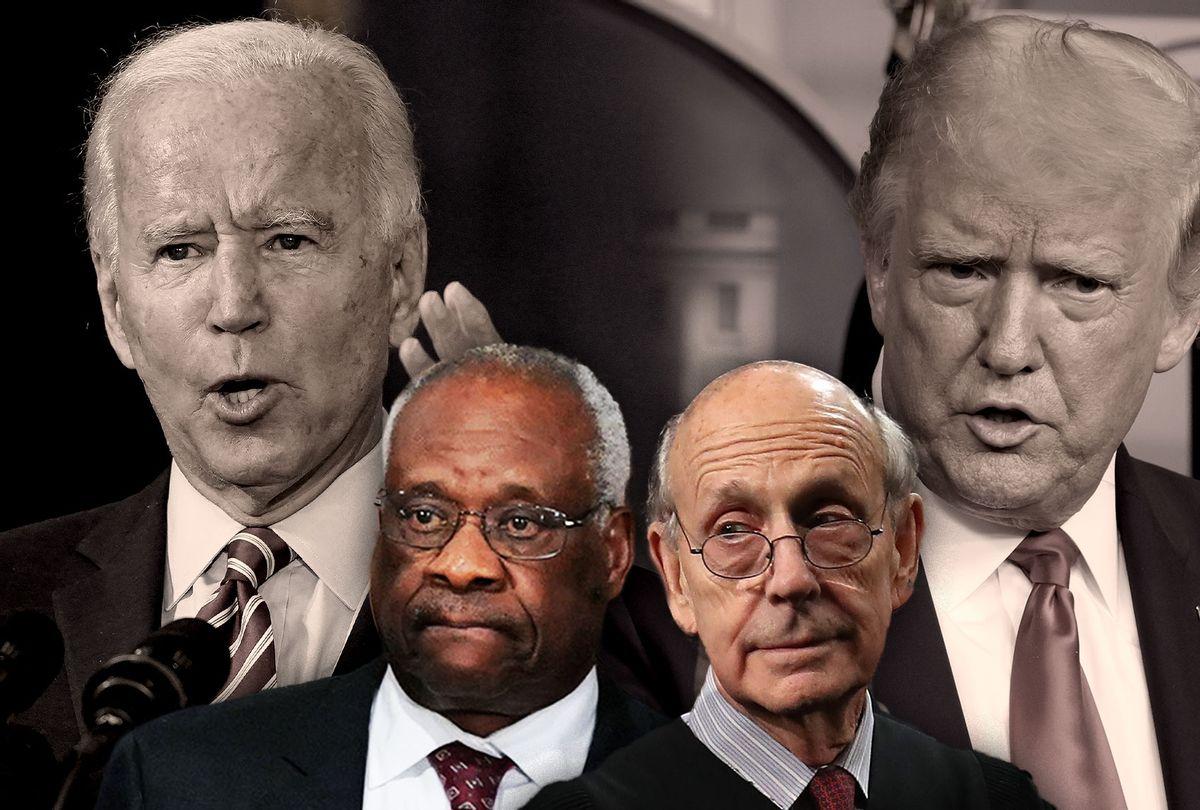Joe Biden, Donald Trump, Stephen Breyer and Clarence Thomas (Photo illustration by Salon/Getty Images)