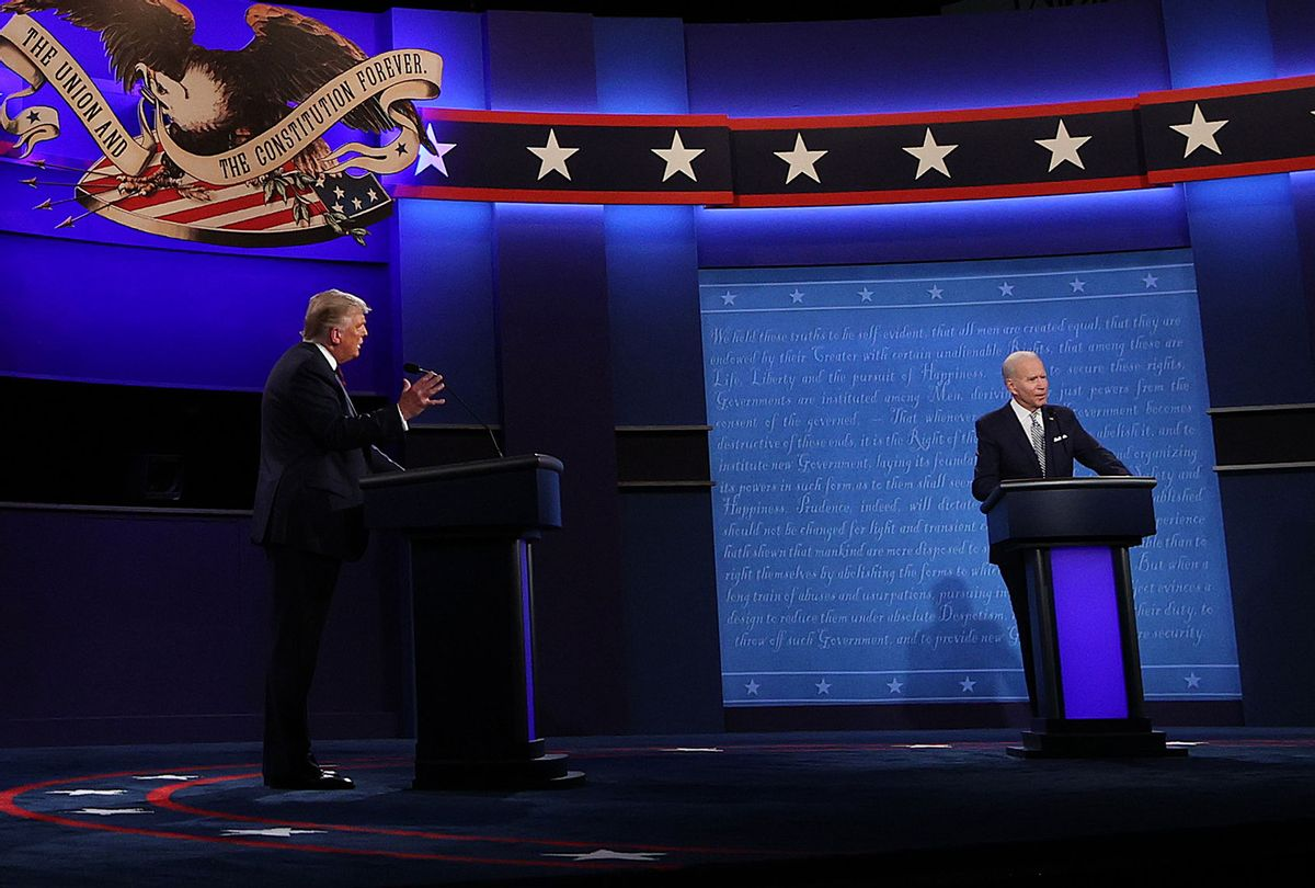 U.S. President Donald Trump and Democratic presidential nominee Joe Biden participate in the first presidential debate at the Health Education Campus of Case Western Reserve University on September 29, 2020 in Cleveland, Ohio. This is the first of three planned debates between the two candidates in the lead up to the election on November 3. (Win McNamee/Getty Images)