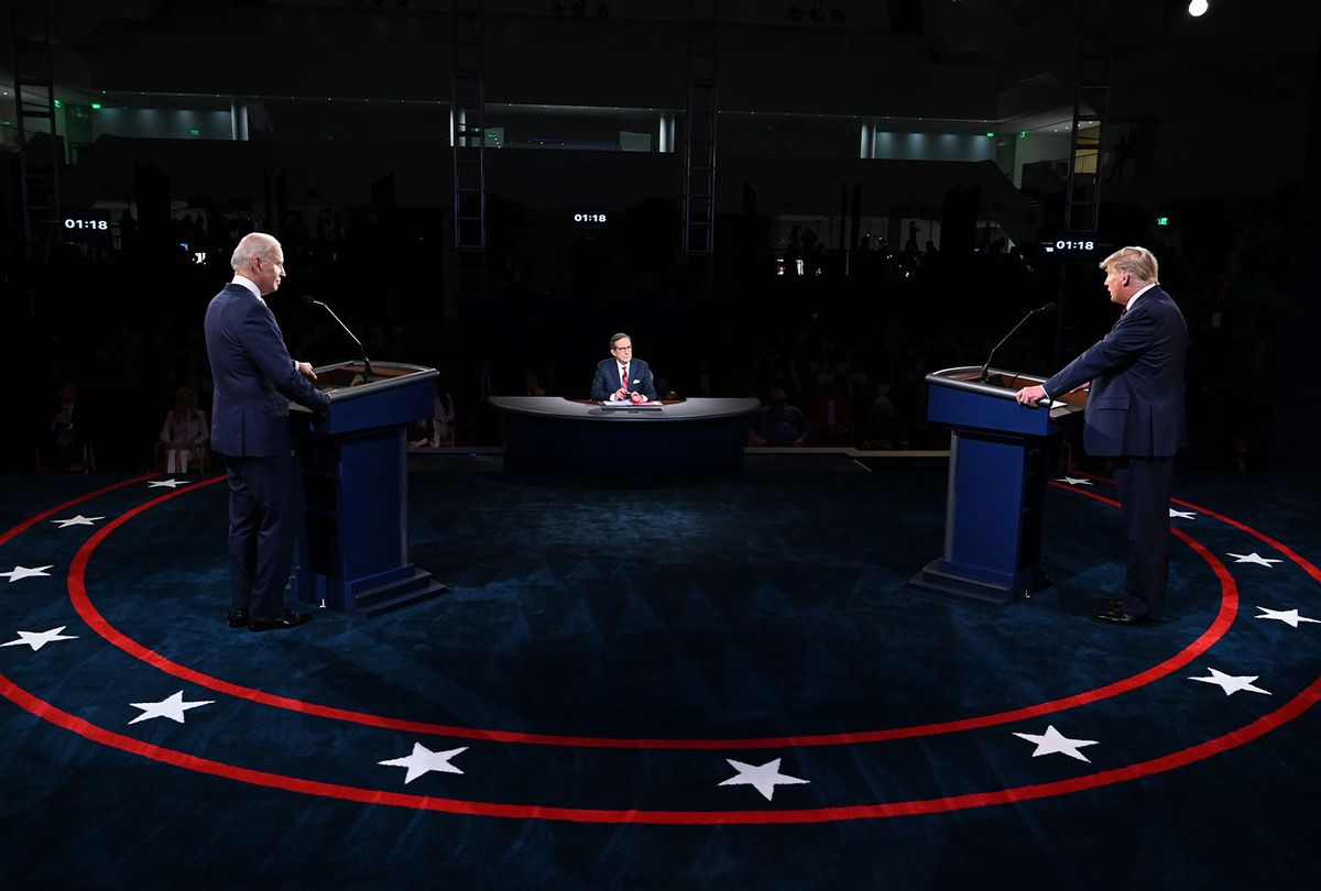 U.S. President Donald Trump and Democratic presidential nominee Joe Biden participate in the first presidential debate at the Health Education Campus of Case Western Reserve University on September 29, 2020 in Cleveland, Ohio. This is the first of three planned debates between the two candidates in the lead up to the election on November 3. (Olivier Douliery-Pool/Getty Images)