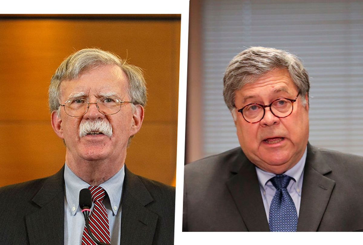 John Bolton and Bill Barr (Photo illustration by Salon/Getty Images)