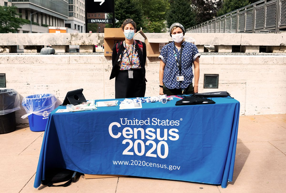 US Census workers stand outside Lincoln Center for the Performing Arts as the city continues Phase 4 of re-opening following restrictions imposed to slow the spread of coronavirus on September 24, 2020 in New York City. The fourth phase allows outdoor arts and entertainment, sporting events without fans and media production. (Noam Galai/Getty Images)