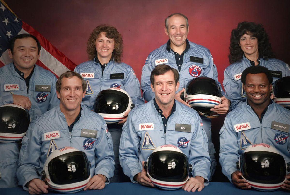 The Challenger 7 flight crew: Ellison S. Onizuka, Mike Smith, Christa McAuliffe, Dick Scobee, Gregory Jarvis, Judith Resnik, and Ronald McNair (Netflix/NASA)