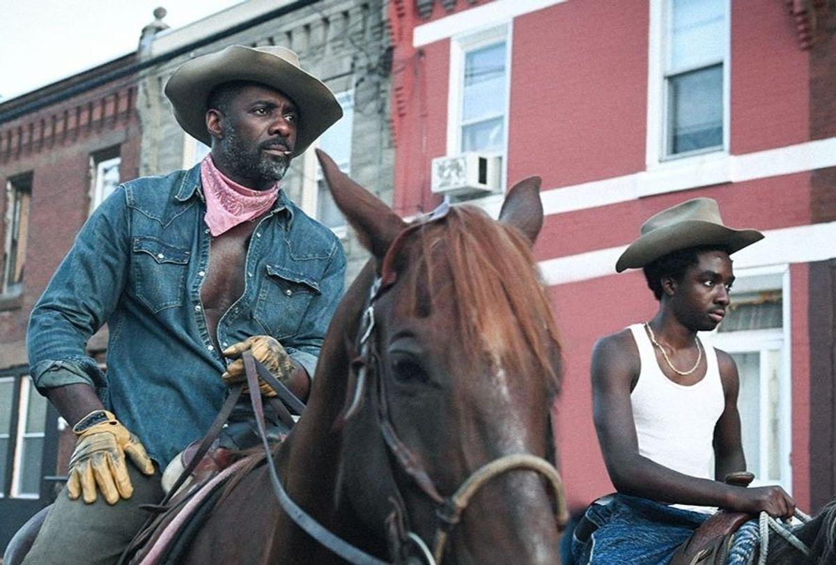 "Idris Elba and Caleb McLaughlin in ""Concrete Cowboy"" (Lee Daniels Entertainment)"