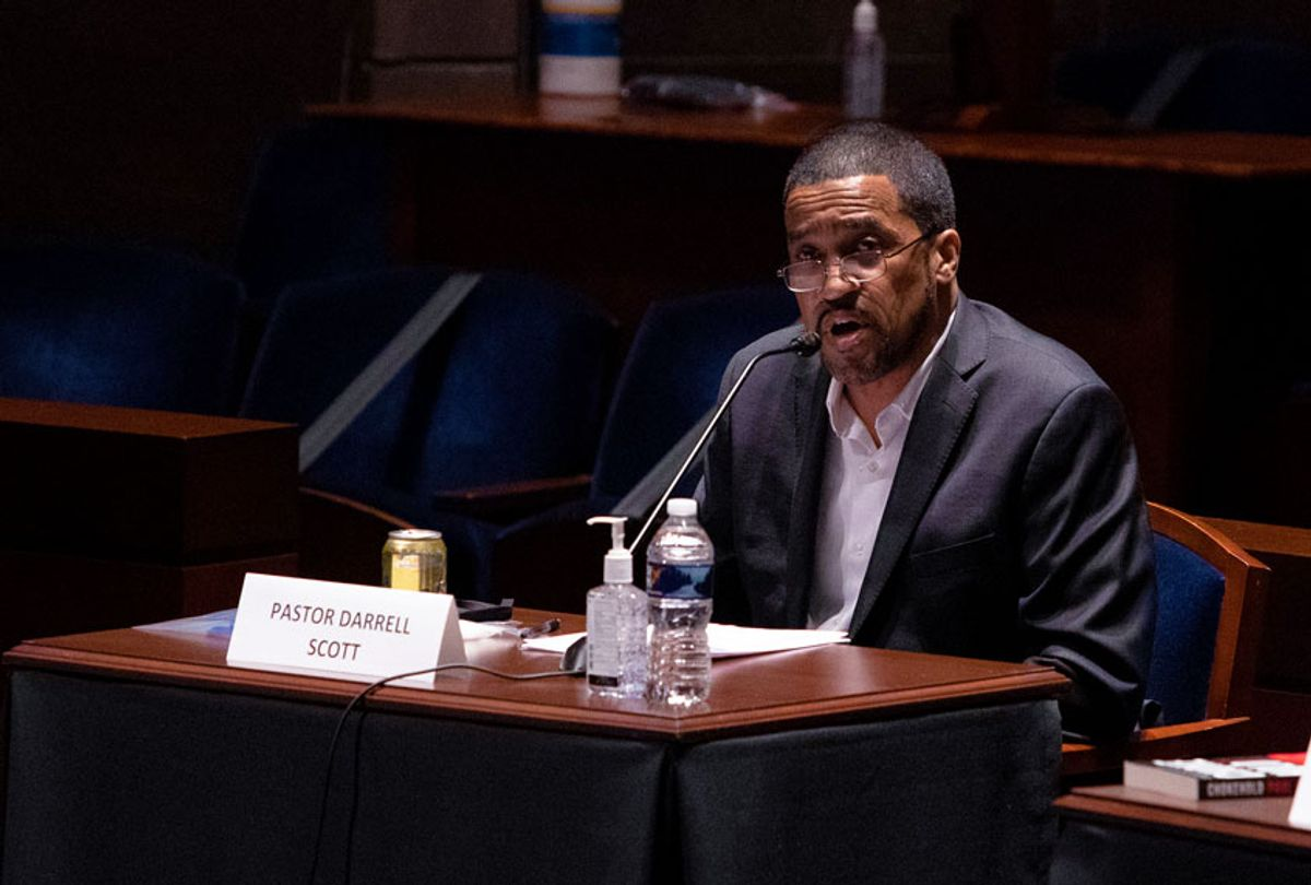 """Darrell Scott, senior pastor for the New Spirit Revival Center testifies at a House Judiciary Committee hearing on """"Policing Practices and Law Enforcement Accountability"""", on Capitol Hill, on June 10, 2020 in Washington, DC. The hearing comes after the death of George Floyd while in the custody of officers of the Minneapolis Police Department. (Graeme Jennings - Pool/Getty Images)"""