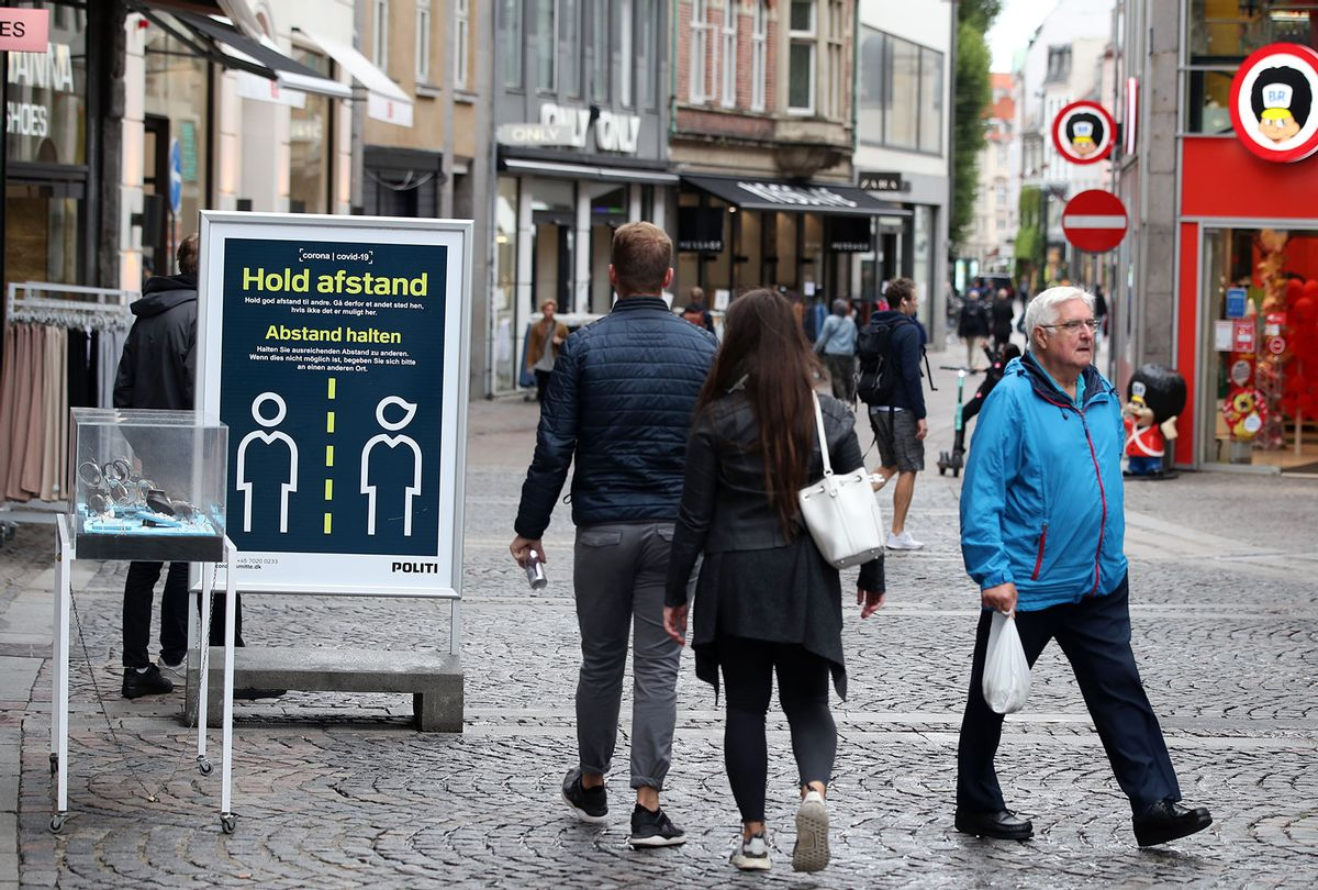 Social Distancing signage in the streets of Copenhagen, Denmark (Nick Potts/PA Images via Getty Images)
