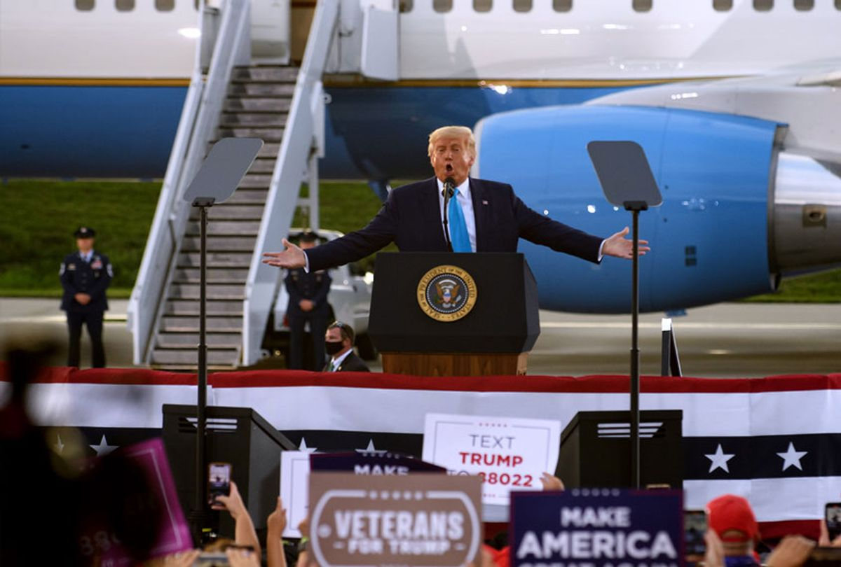 President Donald Trump speaks to supporters at a campaign rally at Arnold Palmer Regional Airport on September 3, 2020 in Latrobe, Pennsylvania. Trump won Pennsylvania in the 2016 election by a narrow margin. (Jeff Swensen/Getty Images)