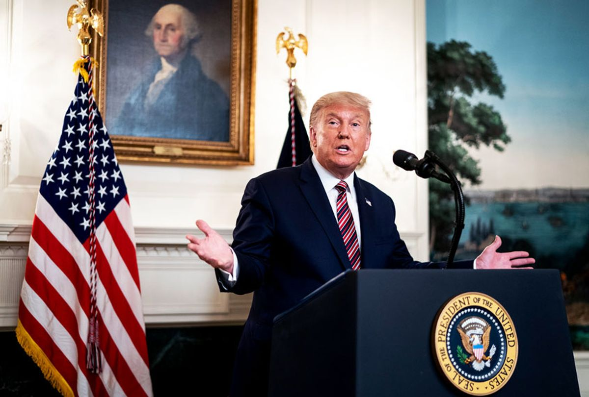 U.S. President Donald Trump announces his list of potential Supreme Court nominees in the Diplomatic Reception Room of the White House on September 9, 2020 in Washington, DC. Trump also fielded questions about the coronavirus and Bob Woodward's new book about him. (Doug Mills-Pool/Getty Images)