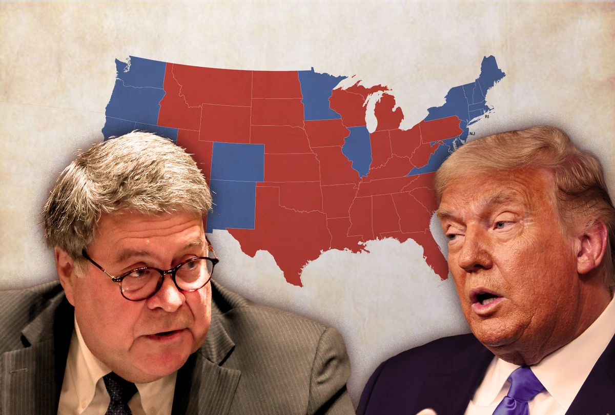 Bill Barr, Donald Trump and an electoral map of the USA (Photo illustration by Salon/Getty Images)