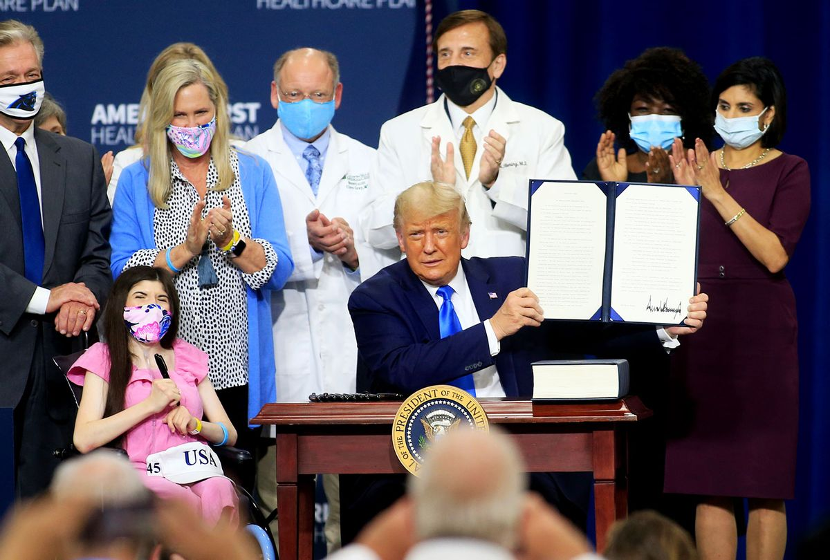 U.S. President Donald Trump reacts after signing an executive order following his remarks on his healthcare policies on September 24, 2020 in Charlotte, North Carolina. Trump's trip to North Carolina marks his fifth time in the state within the last 30 days. (Brian Blanco/Getty Images)