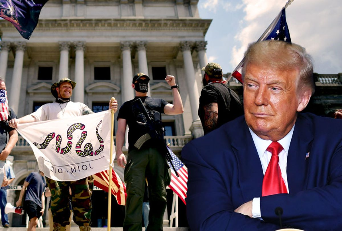 Donald Trump | Trump supporters and a man with an assault rifle join demonstrators outside the Pennsylvania Capitol Building to protest the continued closure of businesses due to the coronavirus pandemic on May 15, 2020 in Harrisburg, Pennsylvania. (Photo illustration by Salon/Getty Images)