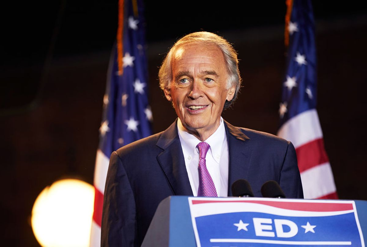 Sen. Ed Markey (D-MA) speaks at a primary election night event at Malden Public Library on September 1, 2020 in Malden, Massachusetts. Sen. Markey won the primary race over challenger Rep. Joe Kennedy III (D-MA) for the Democratic nomination for the U.S. Senate seat. (Allison Dinner/Getty Images)