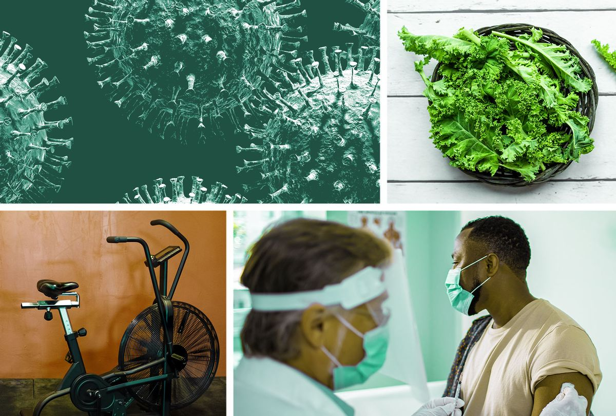 Photo collage pertaining to health, exercise, doctors and COVID-19 (Photo illustration by Salon/Getty Images)