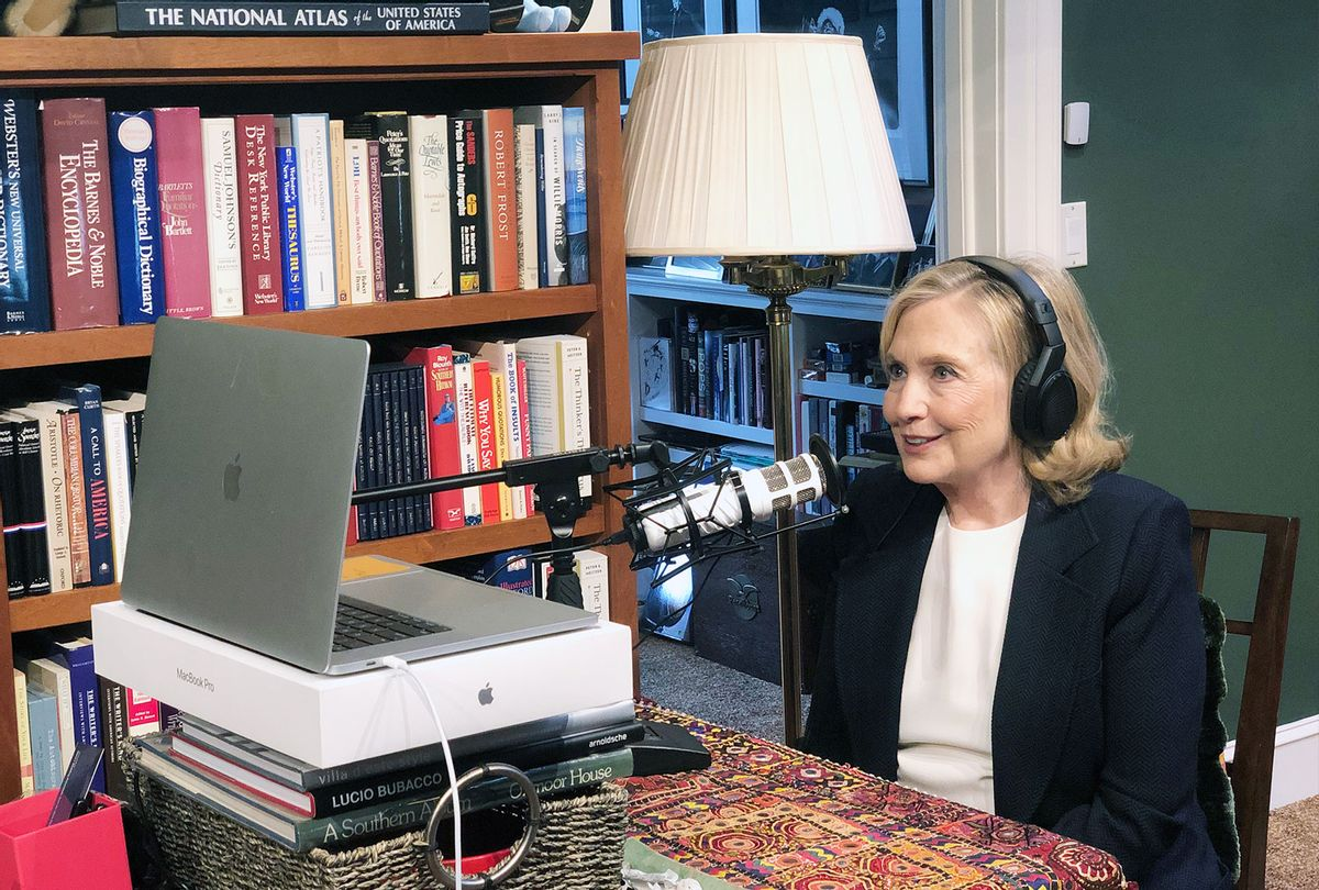 """Hillary Clinton recording """"You and Me Both"""" podcast (iHeartMedia)"""