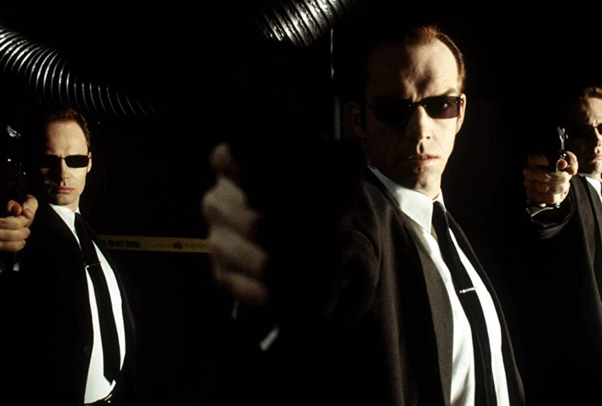 "Hugo Weaving in ""The Matrix"" (Warner Bros.)"