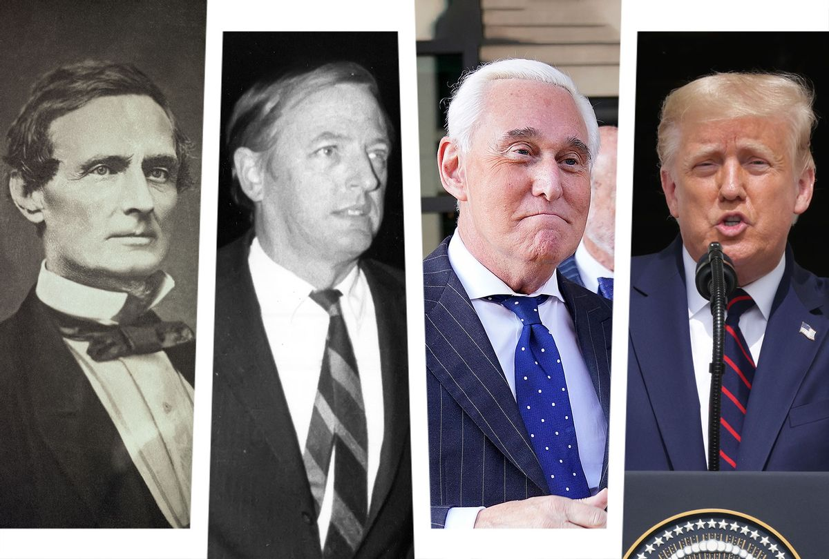 Jefferson Davis, William F Buckley, Roger Stone and Donald Trump (Photo illustration by Salon/Getty Images)