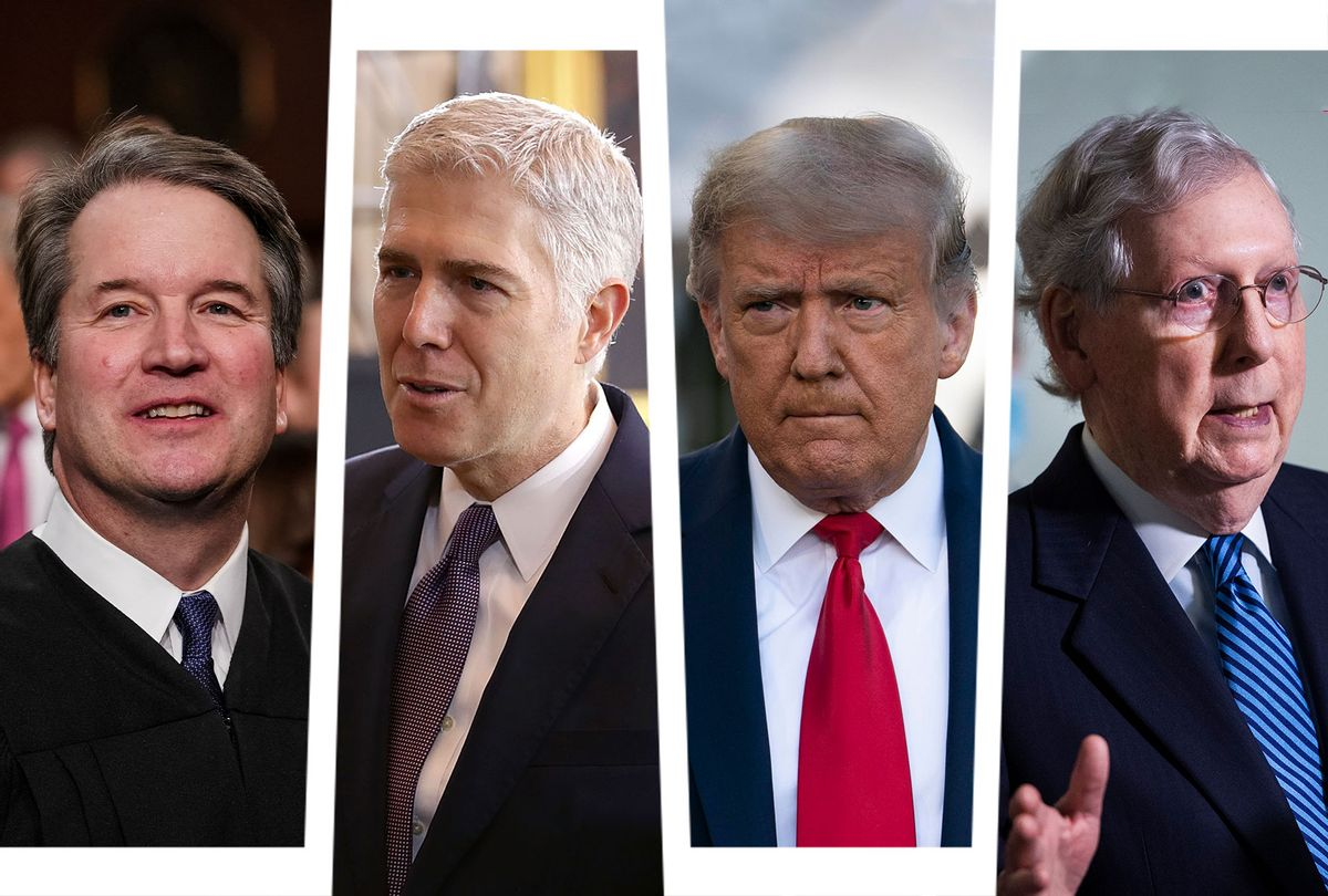 Brett Kavanaugh, Neil Gorsuch, Donald Trump and Mitch McConnell (Photo illustration by Salon/Getty Images)