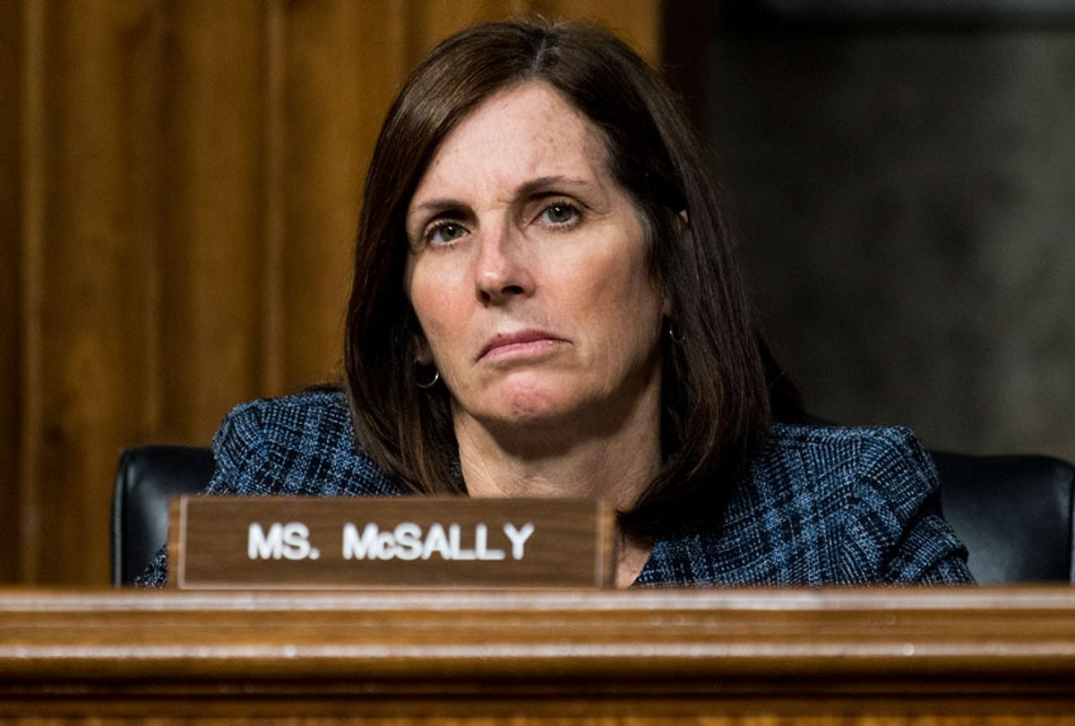 Sen. Martha McSally, R-Ariz., listens during the Senate Armed Services Committee hearing on privatized military housing on Tuesday, Dec. 3, 2019. (Bill Clark/CQ-Roll Call, Inc via Getty Images)