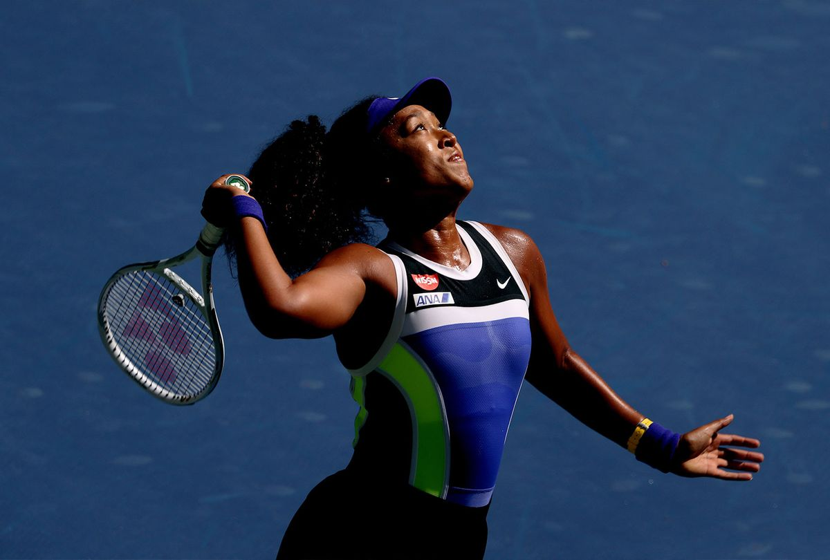 Naomi Osaka of Japan serves the ball during her Women's Singles third round match against Marta Kostyuk of the Ukraine on Day Five of the 2020 US Open at USTA Billie Jean King National Tennis Center on September 04, 2020 in the Queens borough of New York City. (Al Bello/Getty Images)