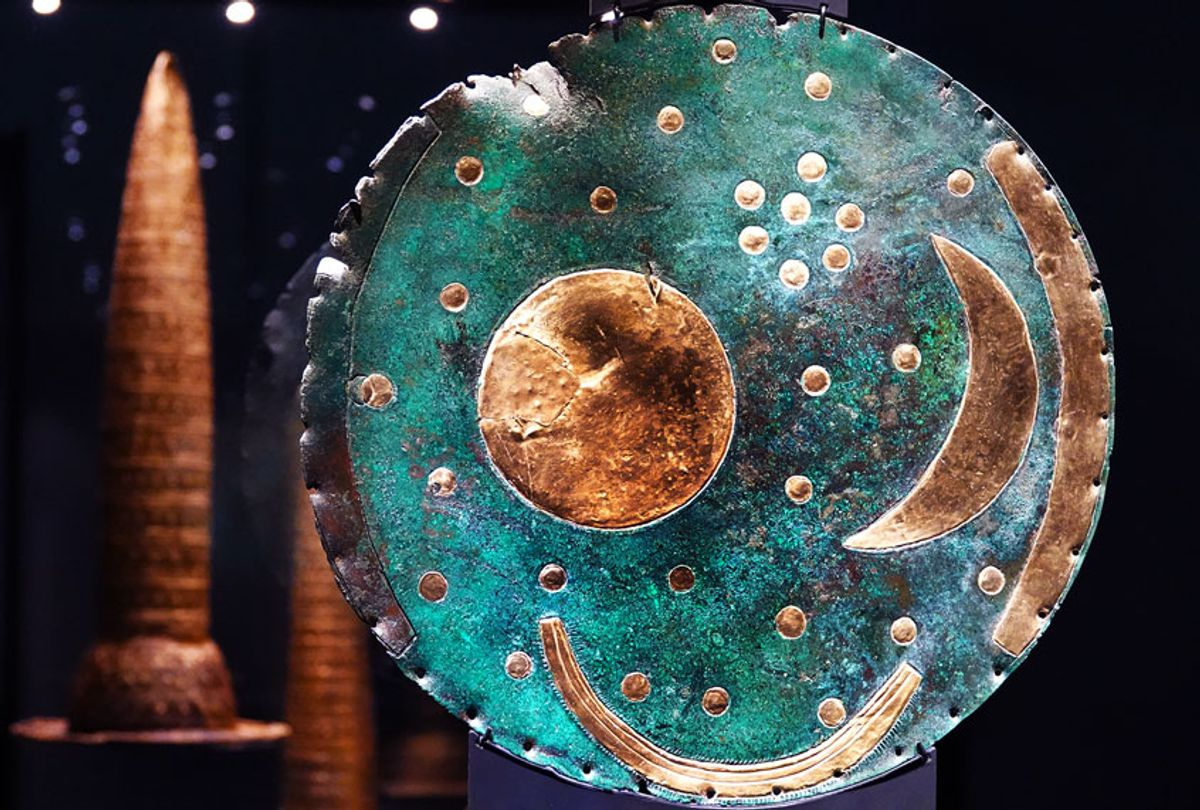 The Nebra Sky Disk stands in a glass display case (Anne Pollmann/picture alliance via Getty Images)