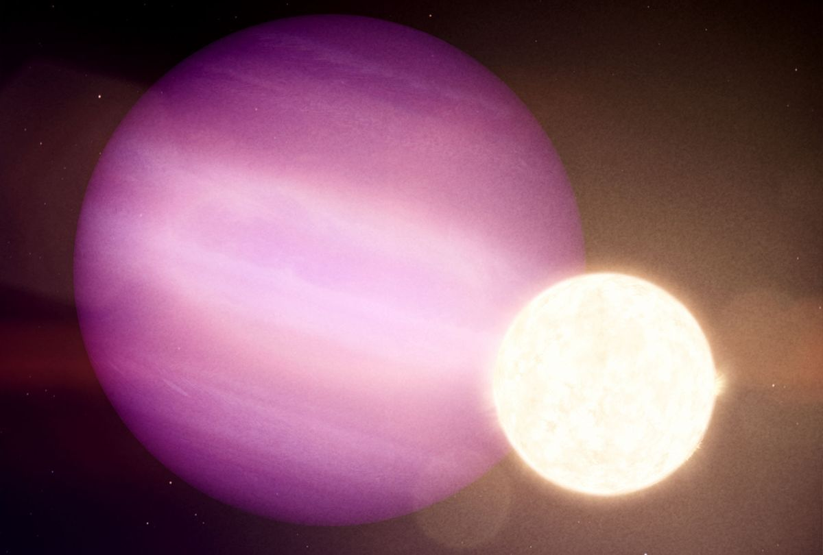 In this illustration, WD 1856 b, a potential Jupiter-size planet, orbits its much smaller host star, a dim white dwarf. (NASA's Goddard Space Flight Center)