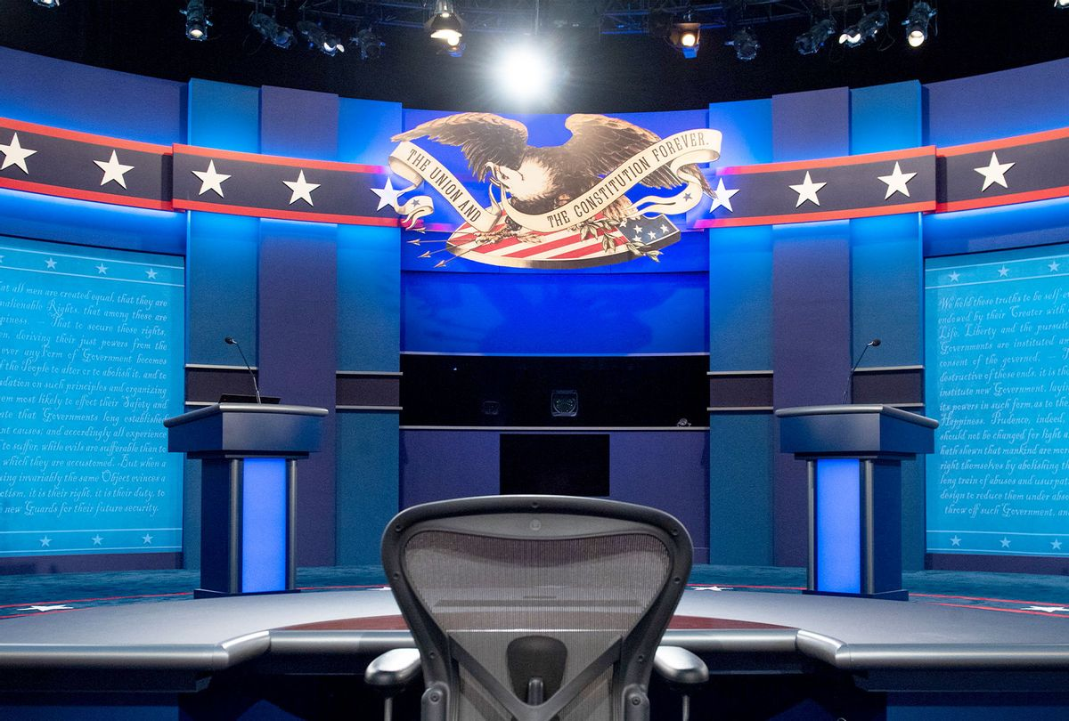 The stage of the first US Presidential debate is seen at Case Western Reserve University and the Cleveland Clinic in Cleveland, Ohio on September 28, 2020. - Tuesday's clash in Cleveland, Ohio, the first of three 90-minute debates, represents the first time voters will have the chance to see the candidates facing off against one another directly. (SAUL LOEB/AFP via Getty Images)