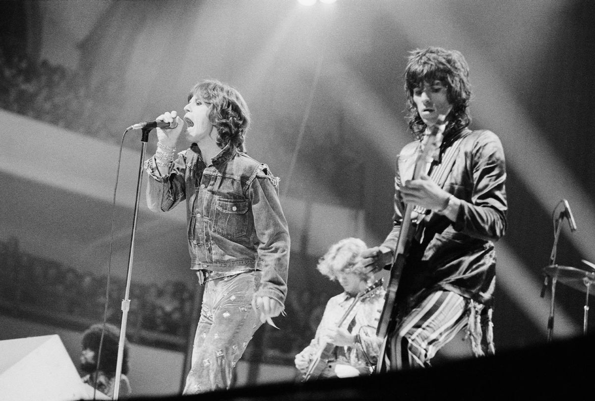 The Rolling Stones performing at the Festhalle Frankfurt, Germany, 30th September 1973. Left to right: Mick Jagger, Mick Taylor and Keith Richards. (Michael Putland/Getty Images)