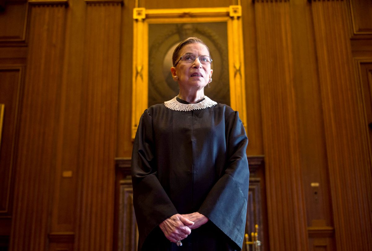 Supreme Court Justice Ruth Bader Ginsburg, celebrating her 20th anniversary on the bench, is photographed in the East conference room at the U.S. Supreme Court in Washington, D.C., on Friday, August 30, 2013. (Nikki Kahn/The Washington Post via Getty Images)
