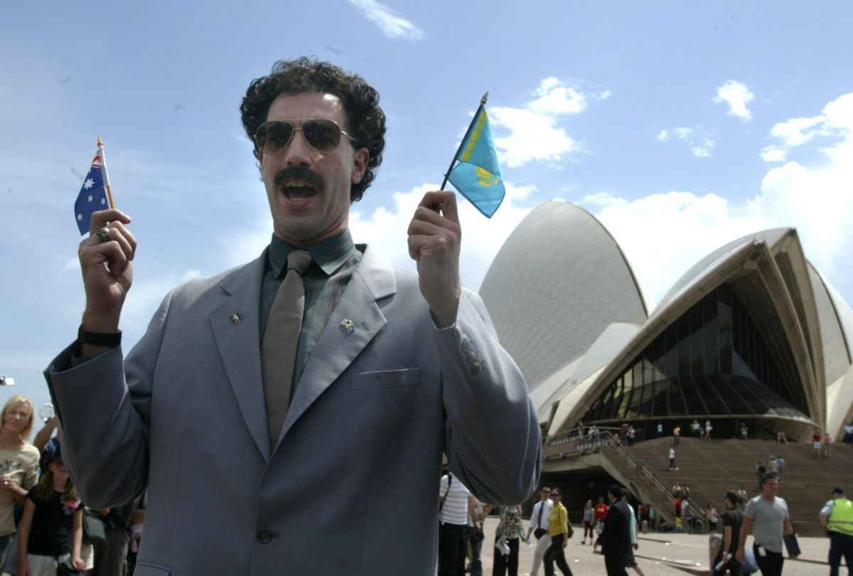 """Sacha Baron Cohen as alter ego Borat outside the Sydney Opera House in 2006 before the premiere of """"Borat: Cultural Learnings of America For Make Benefit Glorious Nation of Kazakhstan"""" (Getty Images/Fairfax Media)"""